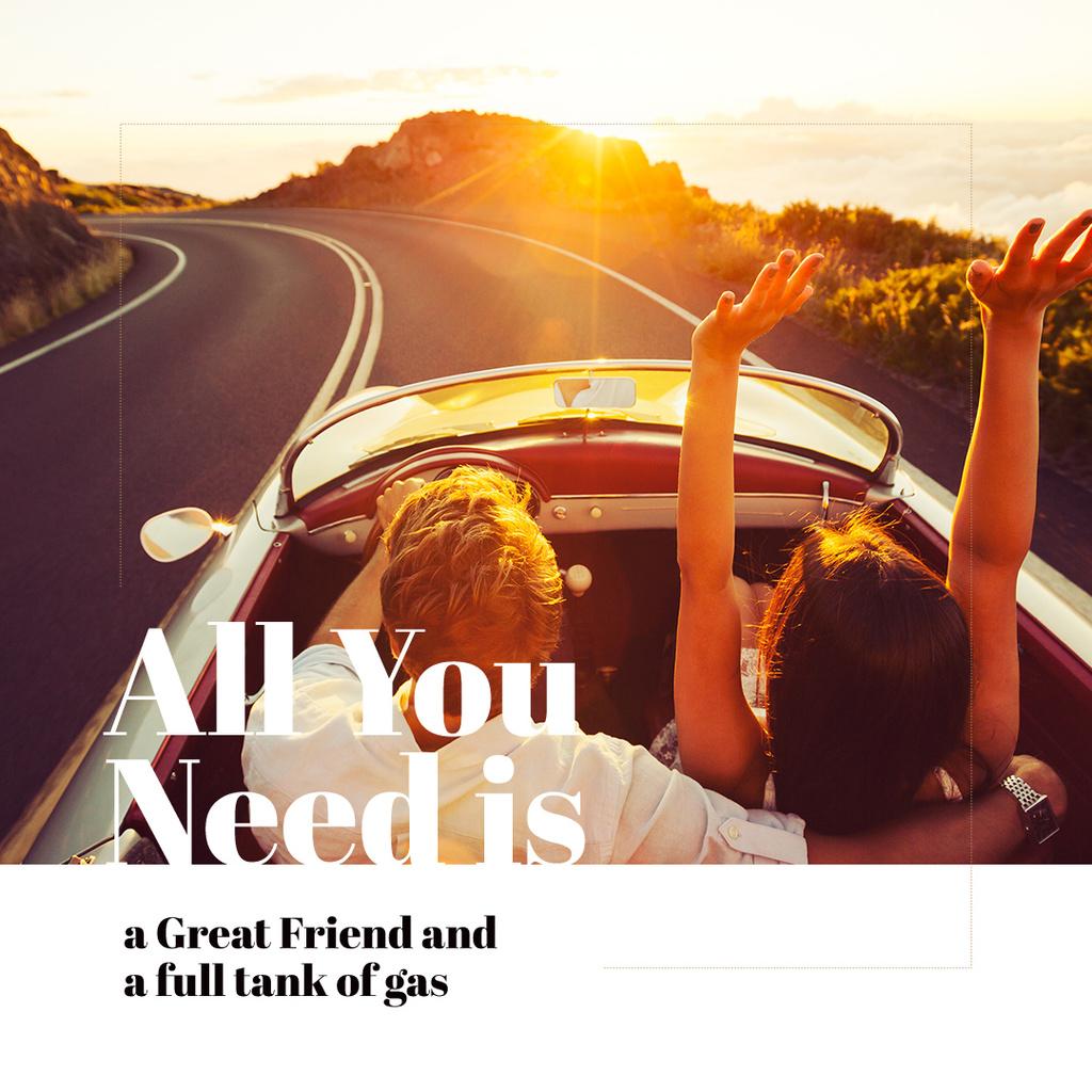 Travel Inspiration Couple in Convertible Car on Road | Instagram Ad Template — ein Design erstellen