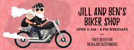 Ontwerpsjabloon van Facebook Video cover van Senior Newlyweds Riding on Motorcycle