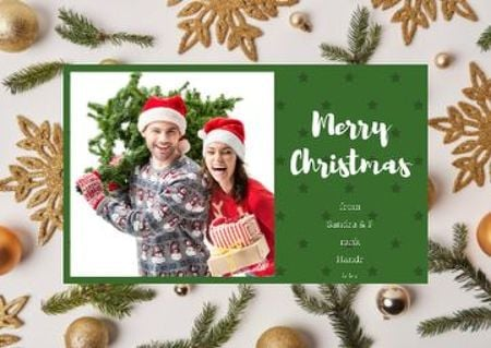 Ontwerpsjabloon van Postcard van Merry Christmas Greeting with Couple with Fir Tree