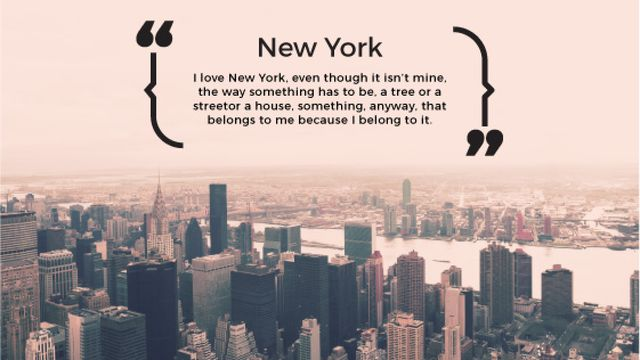 New York Inspirational Quote on City View Title – шаблон для дизайна