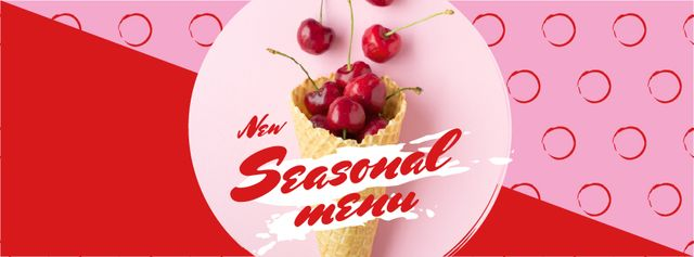 Red Cherries in waffle cone Facebook cover Design Template
