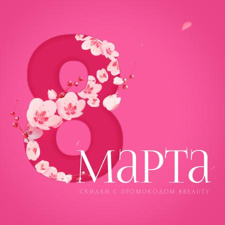 Plantilla de diseño de Women's Day greeting with Blooming 8 number Animated Post