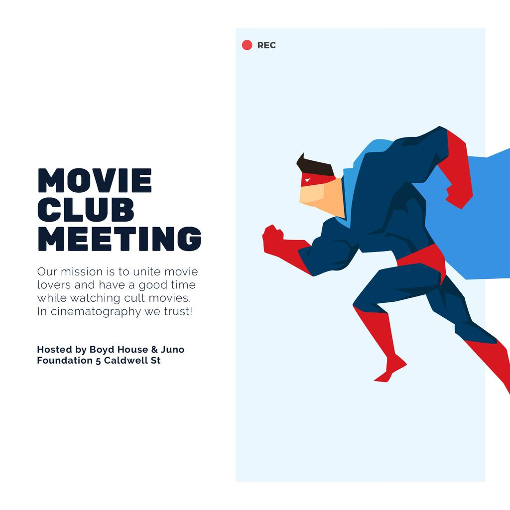 Movie club meeting with running Superman — Create a Design