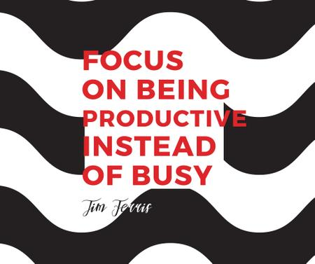 Productivity Quote on Waves in Black and White Facebookデザインテンプレート