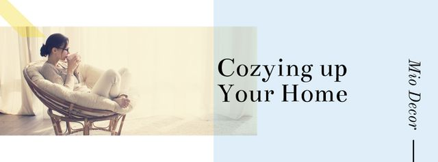 Template di design Woman drinking coffee in Cozy Home Facebook cover