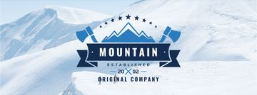 Mountaineering Equipment Company Icon Snowy Mountains | Facebook Cover Template