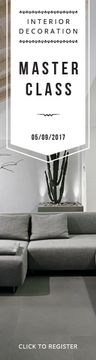 Interior Decoration Event Announcement Sofa in Grey | Wide Skyscraper Template