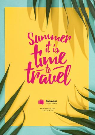 Summer Travel Inspiration on Palm Leaves Frame Poster Tasarım Şablonu