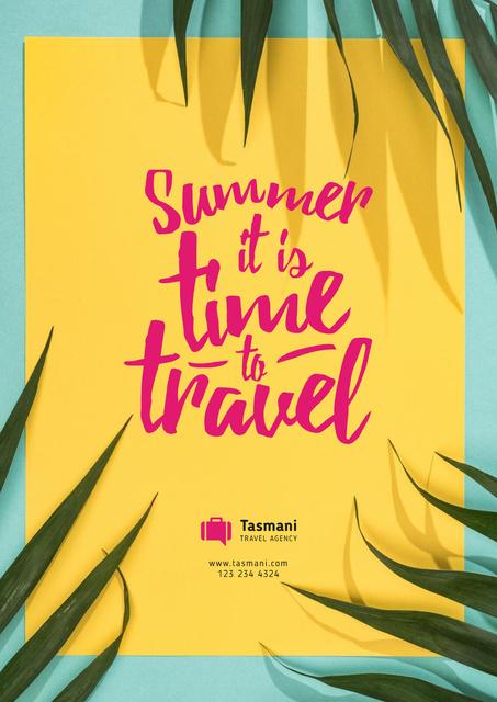 Summer Travel Inspiration on Palm Leaves Frame Poster – шаблон для дизайну