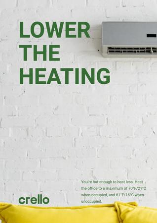 Climate Care Concept with Air Conditioner Working Poster Modelo de Design