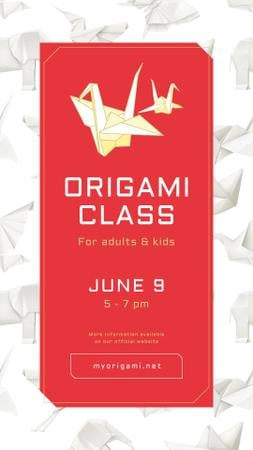 Art classes Annoucement with Origami paper animals Instagram Story Tasarım Şablonu