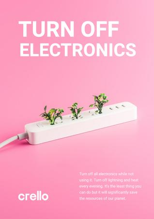 Energy Conservation Concept with Plants Growing in Socket Poster – шаблон для дизайна