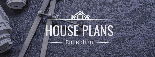 Plantilla de diseño de House Plans blueprints on table Facebook cover