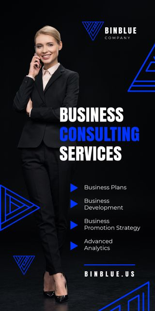 Business Consulting Services Ad Woman Talking on Phone Graphic Modelo de Design