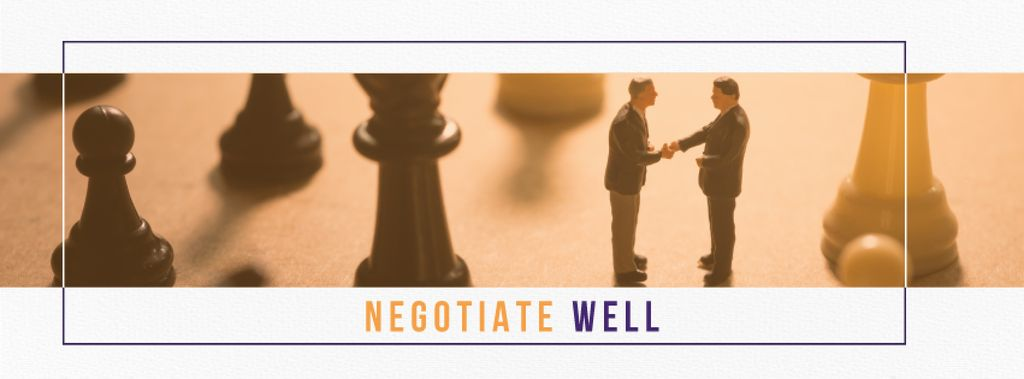 Negotiate well poster with business people shaking hands on chess board — Modelo de projeto