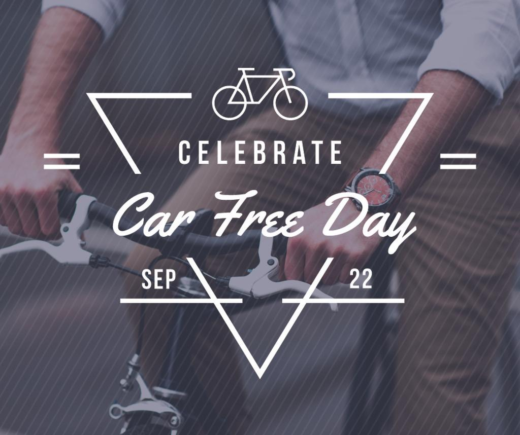 Man Cycling in City on Car Free Day — Создать дизайн