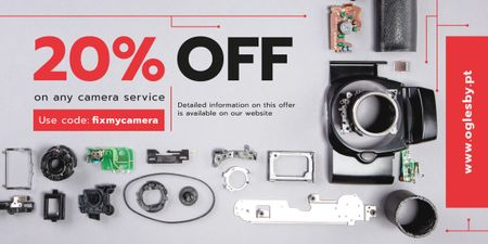 Camera Service Ad Details and Parts Image Modelo de Design
