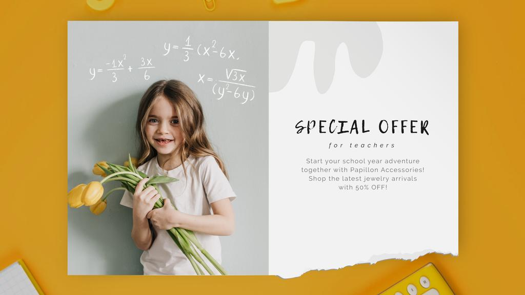 Back to School Offer Girl with Tulips Bouquet — Create a Design