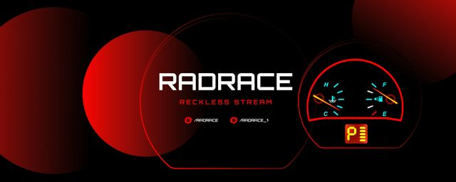 Abstract illustration of Speedometer Twitch Profile Banner Design Template