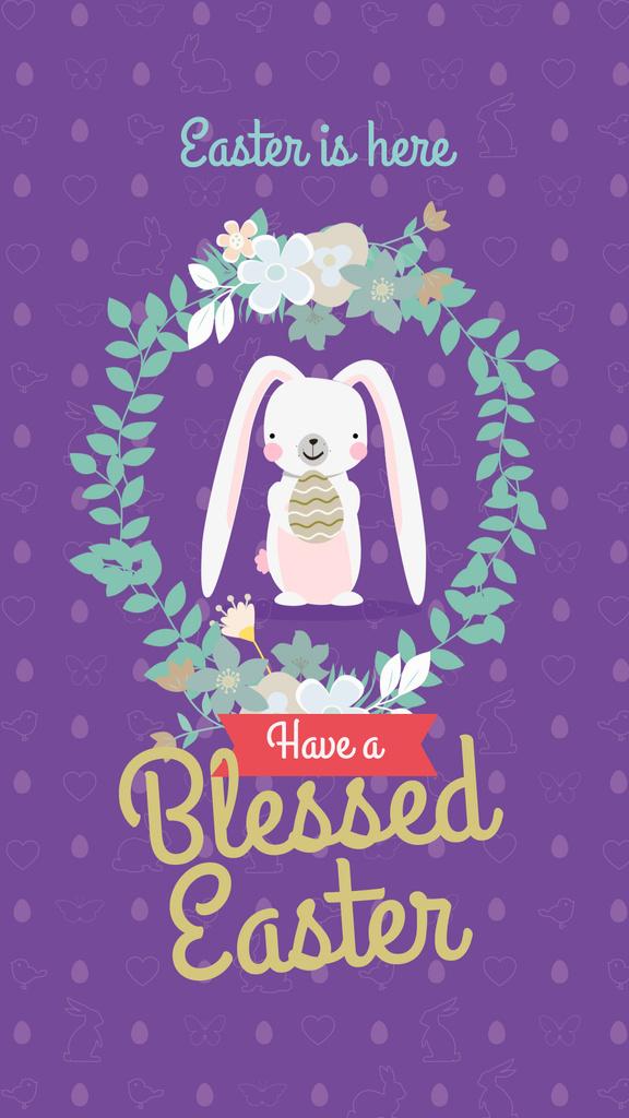 Modèle de visuel Cute Easter bunny on purple pattern - Instagram Story
