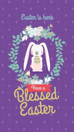 Modèle de visuel Cute Easter bunny on purple pattern - Instagram Story