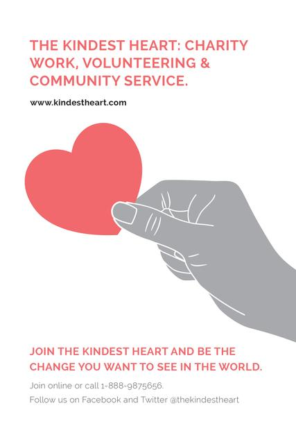 Plantilla de diseño de The Kindest Heart Charity Work Pinterest