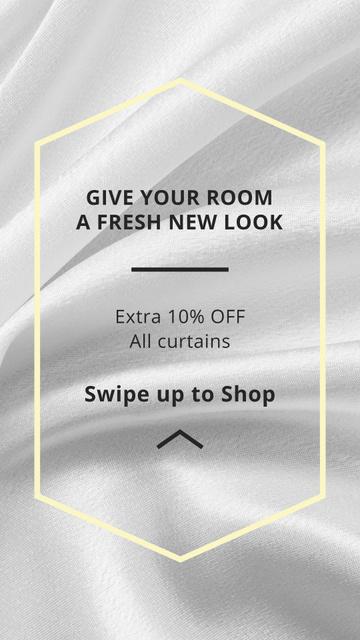 Plantilla de diseño de Home Textiles offer on White Silk Instagram Story