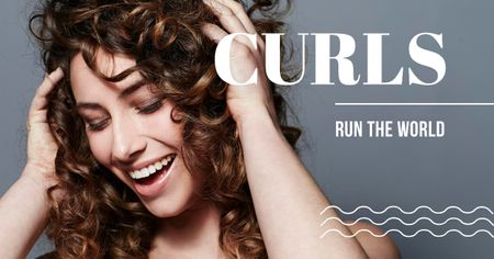 Ontwerpsjabloon van Facebook AD van Curls Care tips with Woman with shiny Hair