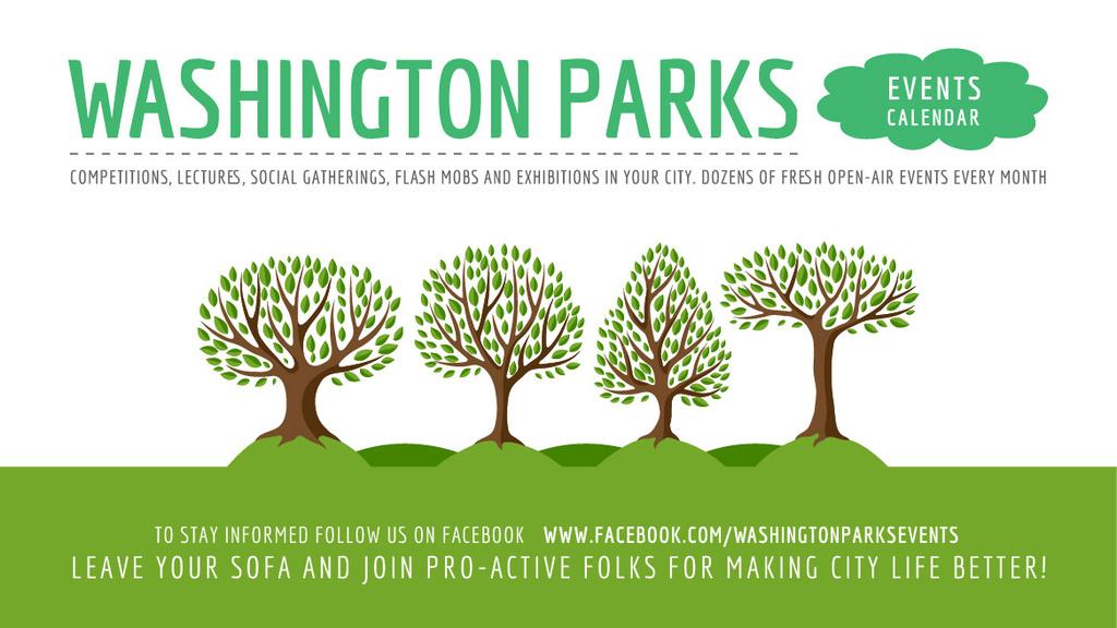 Park Event Announcement Green Trees — Modelo de projeto