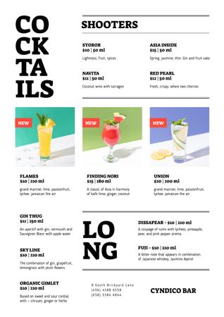 Plantilla de diseño de Bar Cocktails in glasses Menu