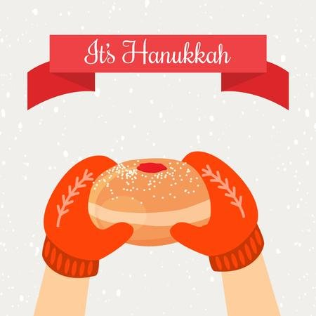 Hands With Hanukkah Sufganiyah Animated Post Modelo de Design