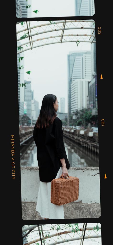 Girl on walk in City downtown — Crear un diseño