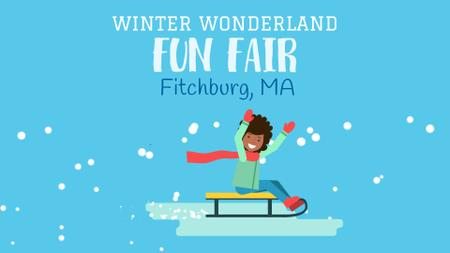 Ontwerpsjabloon van Full HD video van Winter Fair Invitation Girl Enjoying Sledge Ride