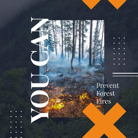Ontwerpsjabloon van Instagram AD van Ecology concept with Fire in dense forest