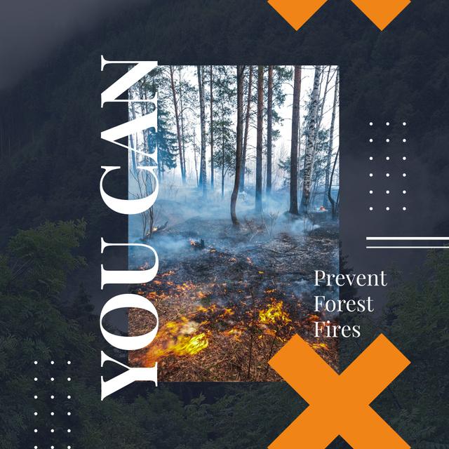 Plantilla de diseño de Ecology concept with Fire in dense forest Instagram AD