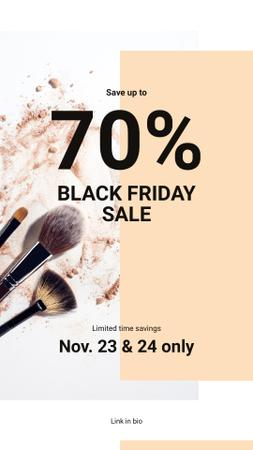 Template di design Black Friday Sale Brushes and face powder Instagram Story