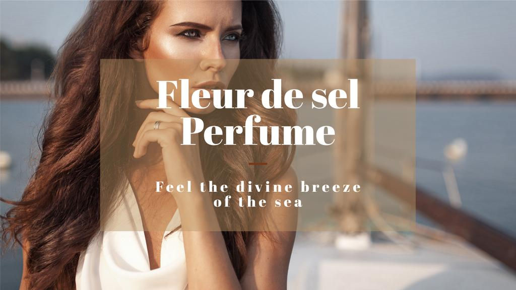 new perfume advertisement poster with beautiful young woman  — Maak een ontwerp