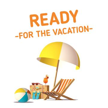 Vacation Offer Chaise-Lounge and Umbrella on Beach | Square Video Template