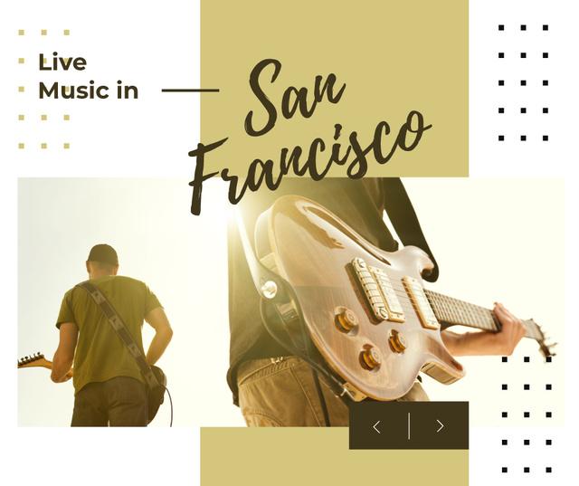 Concert Invitation Man playing Guitar Facebook Modelo de Design