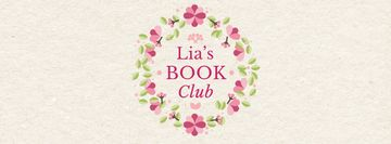 Book club promotion in Circle frame with flowers