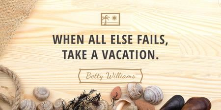Designvorlage Travel inspiration with Shells on wooden background für Image