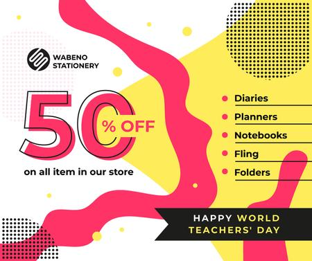 World Teachers' Day Sale Colorful Blots Facebook Modelo de Design