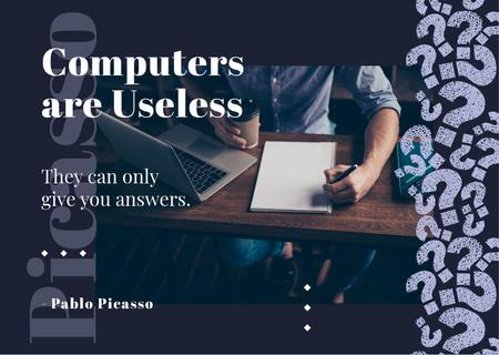 Ontwerpsjabloon van Postcard van Man working on laptop