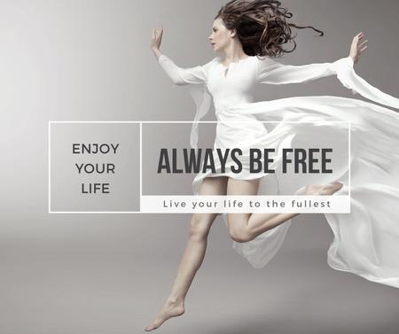 Plantilla de diseño de Inspiration Quote Woman Dancer Jumping Facebook