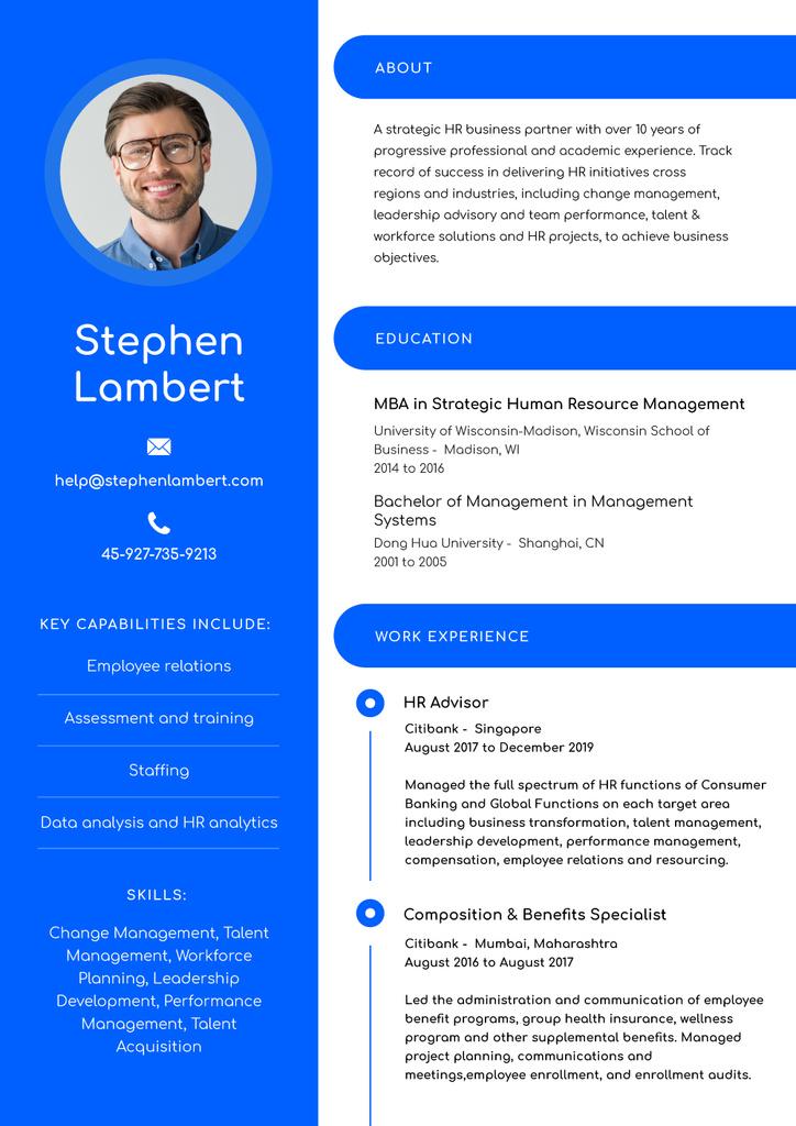 HR Advisor skills and experience — Crea un design