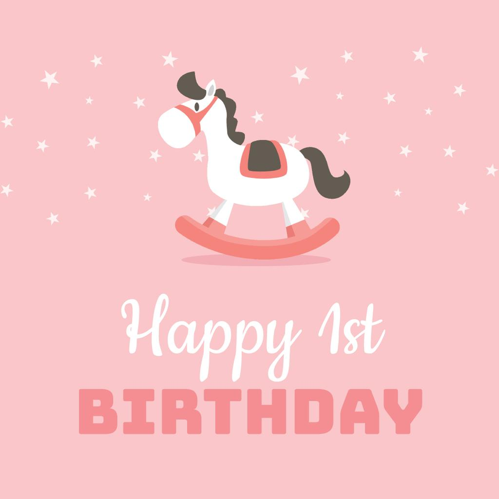 Birthday Greeting with Rocking Horse Toy — Create a Design