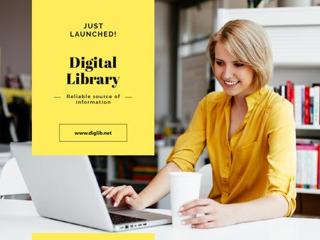 Plantilla de diseño de Digital Library with Woman Typing on Laptop Presentation