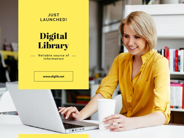 Digital Library with Woman Typing on Laptop Presentationデザインテンプレート
