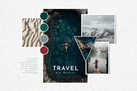 Travel Tour in mountains impressions Mood Board – шаблон для дизайну