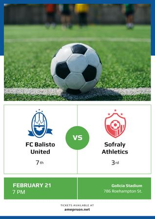 Soccer Match Announcement with Ball on Green Lawn Poster Design Template